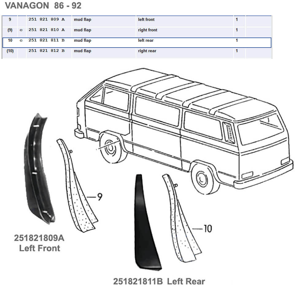 Lai Kam Wah Sdn. Bhd. Specialist in VW Aircooled Parts - 251821812B - Mud Flap