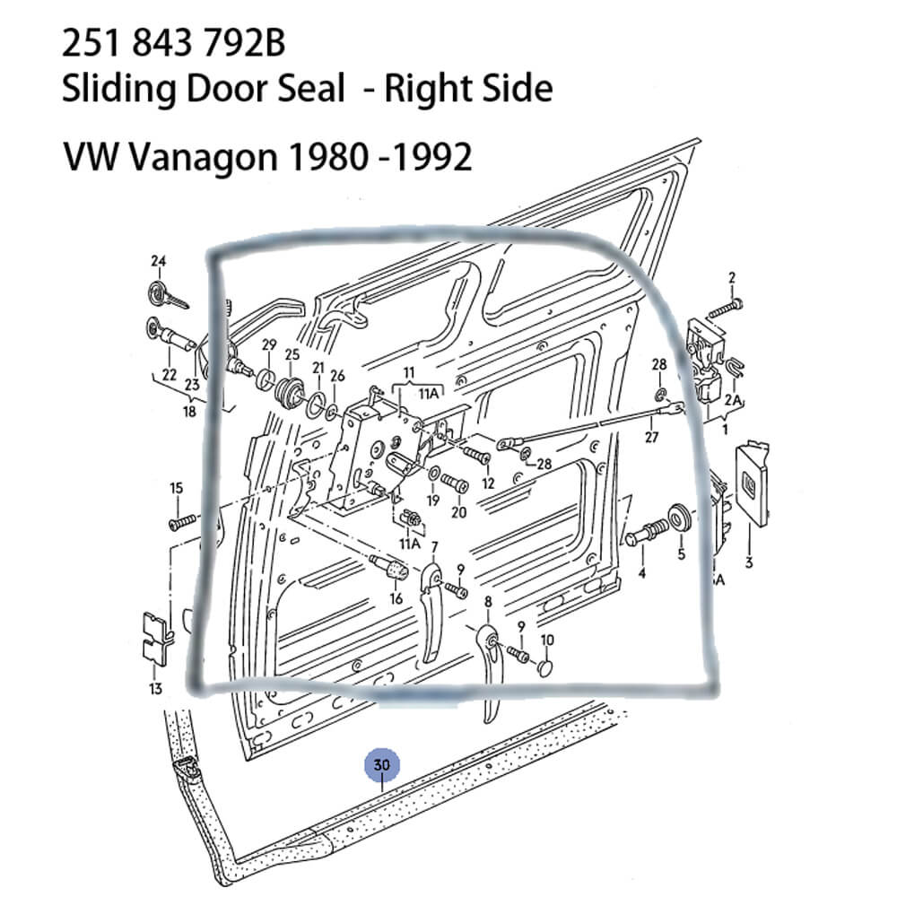 Lai Kam Wah Sdn. Bhd. Specialist in VW Aircooled Parts - 251843792B - Sliding Door Seal