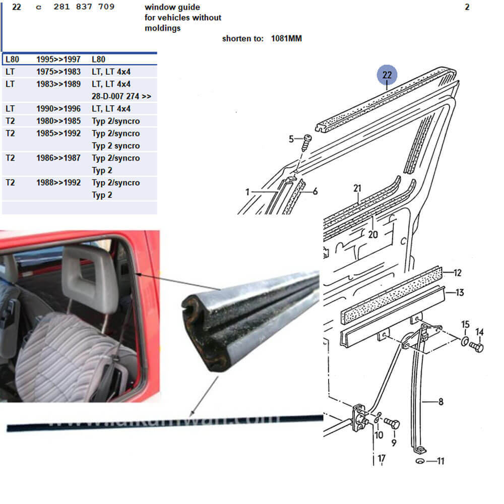 Lai Kam Wah Sdn. Bhd. Specialist in VW Aircooled Parts - 281837709 - Window guide for T25 without moldings