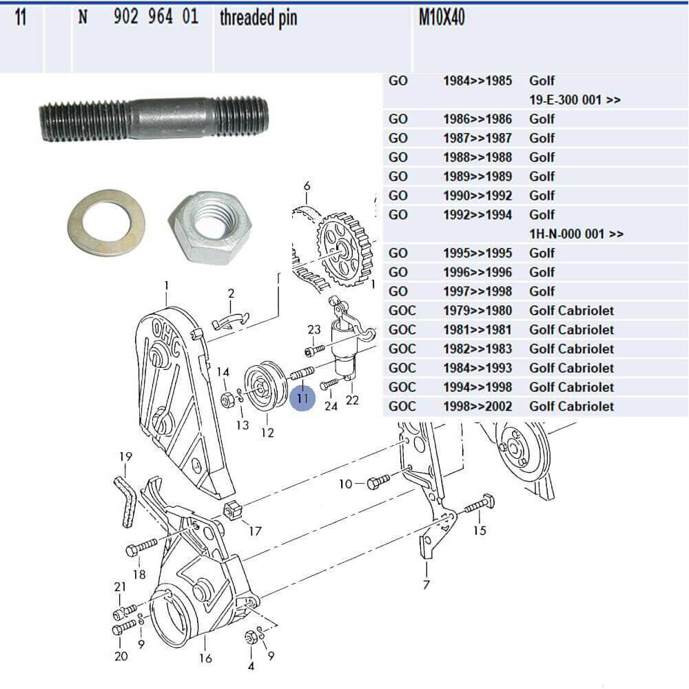 Lai Kam Wah Sdn. Bhd. Specialist in VW Aircooled Parts - N90296401 - Threaded Pin